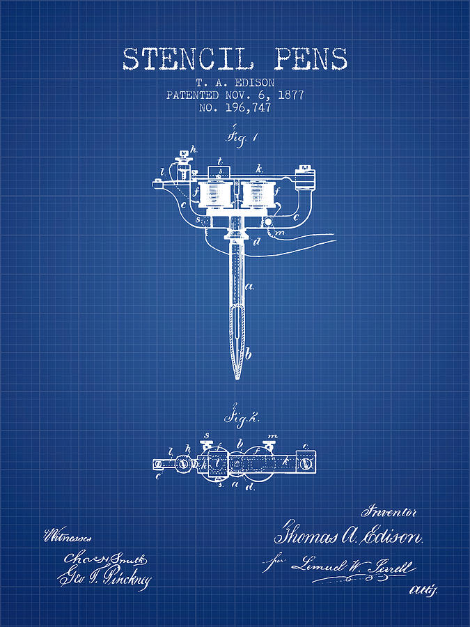 Stencil Digital Art - Stencil Pen Patent From 1877 - Blueprint by Aged Pixel