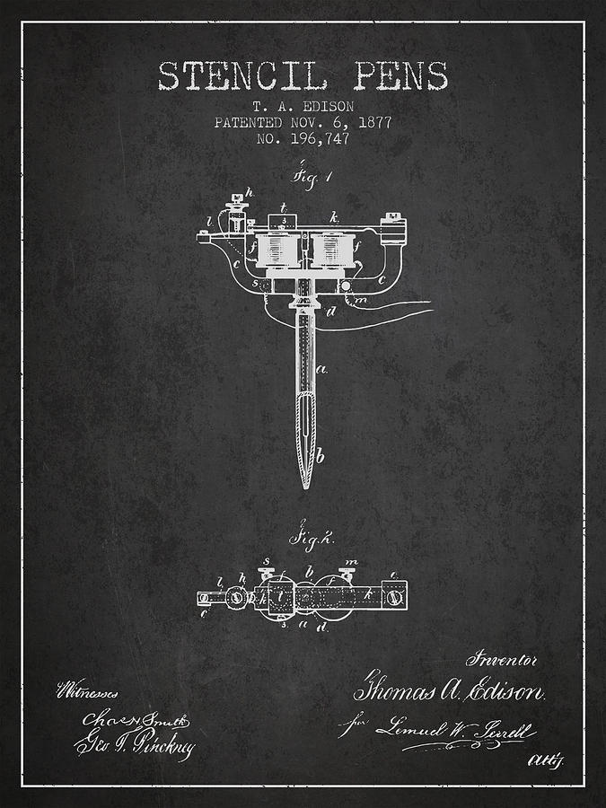 Stencil Digital Art - Stencil Pen Patent From 1877 - Charcoal by Aged Pixel
