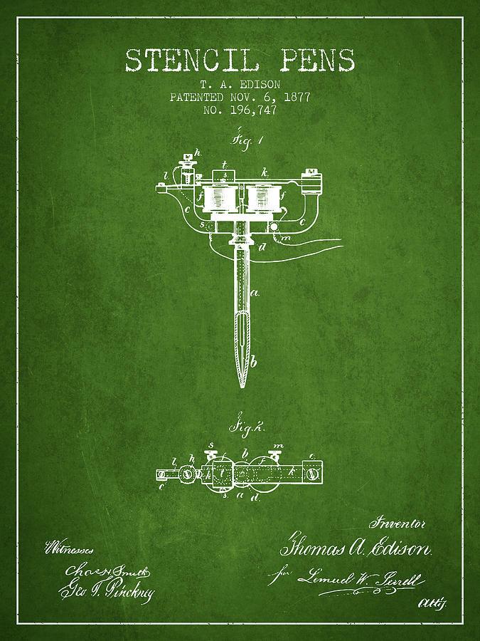 Stencil Digital Art - Stencil Pen Patent From 1877 - Green by Aged Pixel
