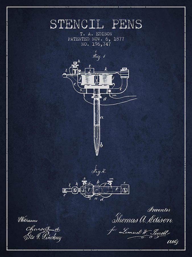 Stencil Digital Art - Stencil Pen Patent From 1877 - Navy Blue by Aged Pixel