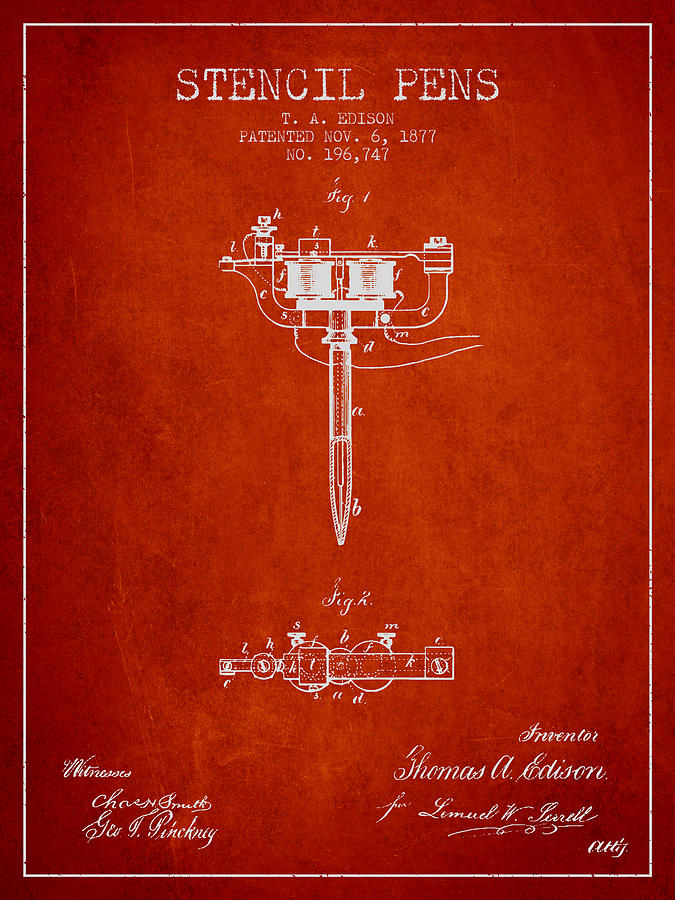 Stencil Digital Art - Stencil Pen Patent From 1877 - Red by Aged Pixel