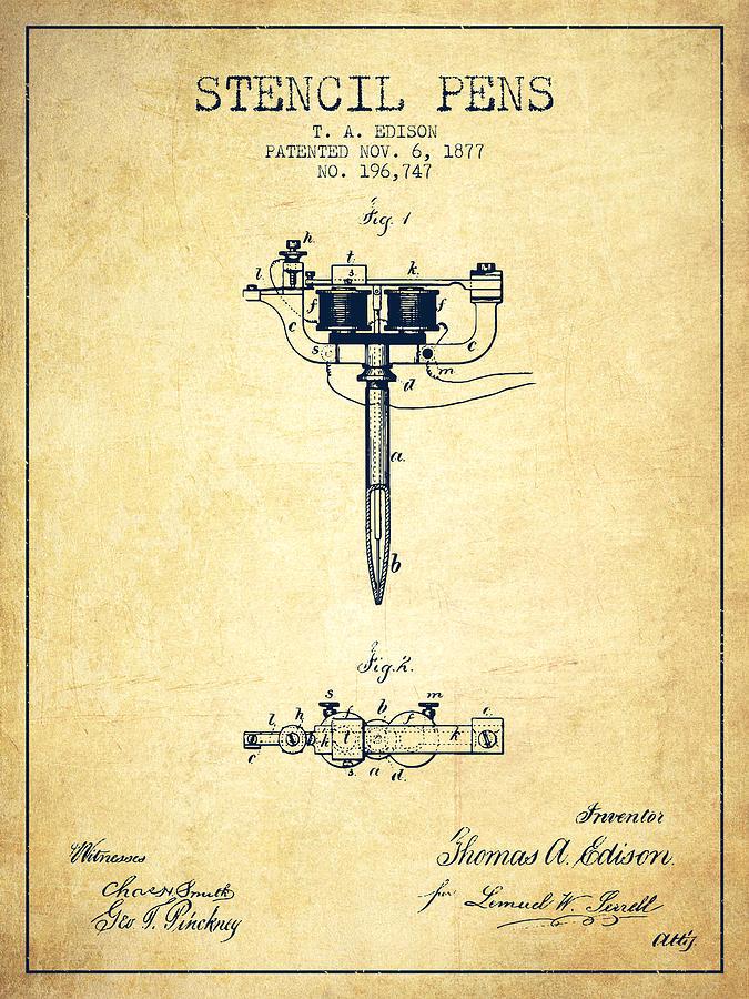 Stencil Digital Art - Stencil Pen Patent From 1877 - Vintage by Aged Pixel