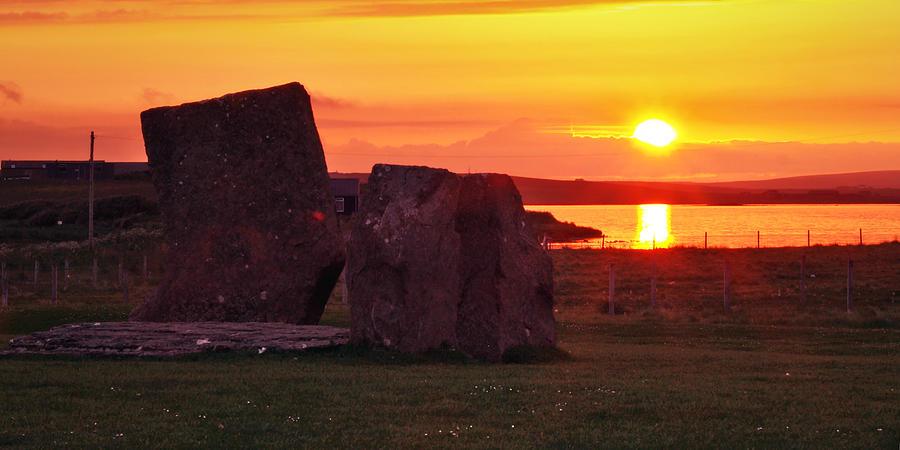 Sunset Photograph - Stenness Sunset 2 by Steve Watson