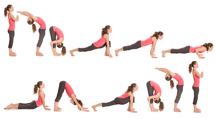 Step-by-step illustration of the sun salutation yoga pose Photograph by Kaisphoto