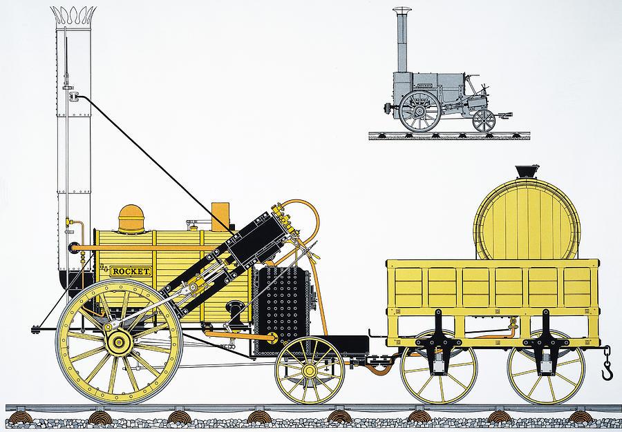 Stephensons Rocket, 1829 Photograph by Granger