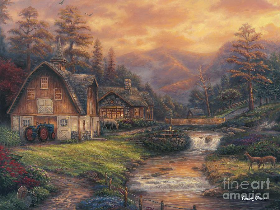 European Farm Painting - Steps Off The Appalachian Trail by Chuck Pinson