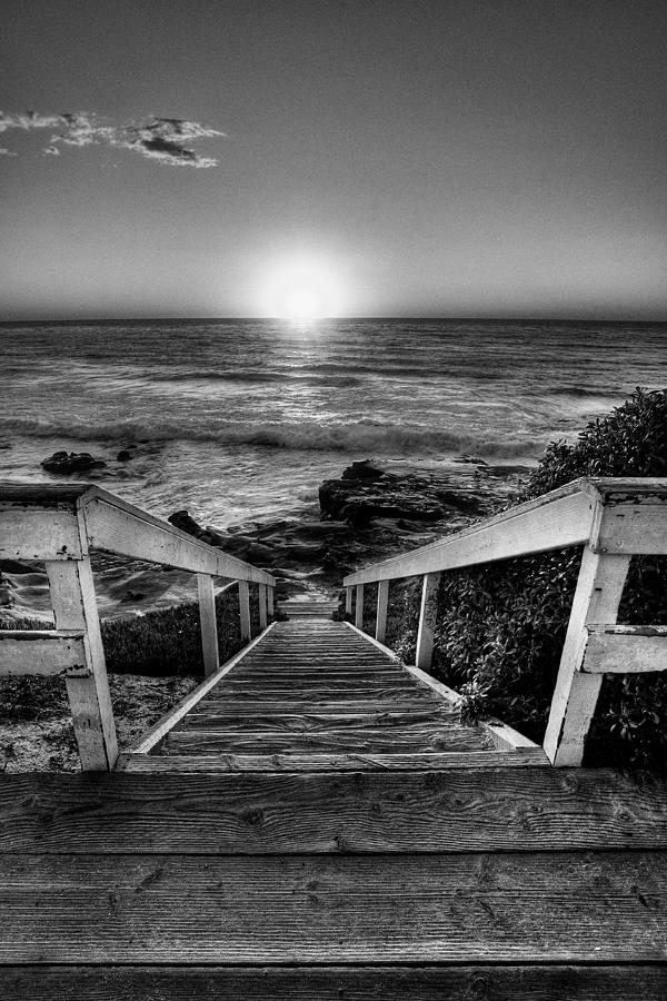 Beach Art Photograph - Steps To The Sun  Black And White by Peter Tellone