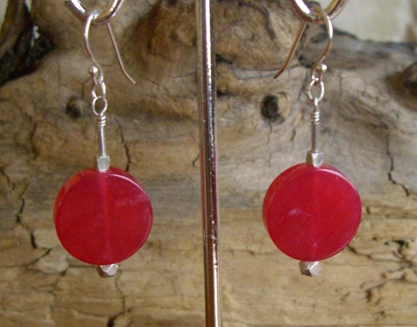 Sterling Jewelry - Sterling Cherry Quartz Earrings by Ann Mooney
