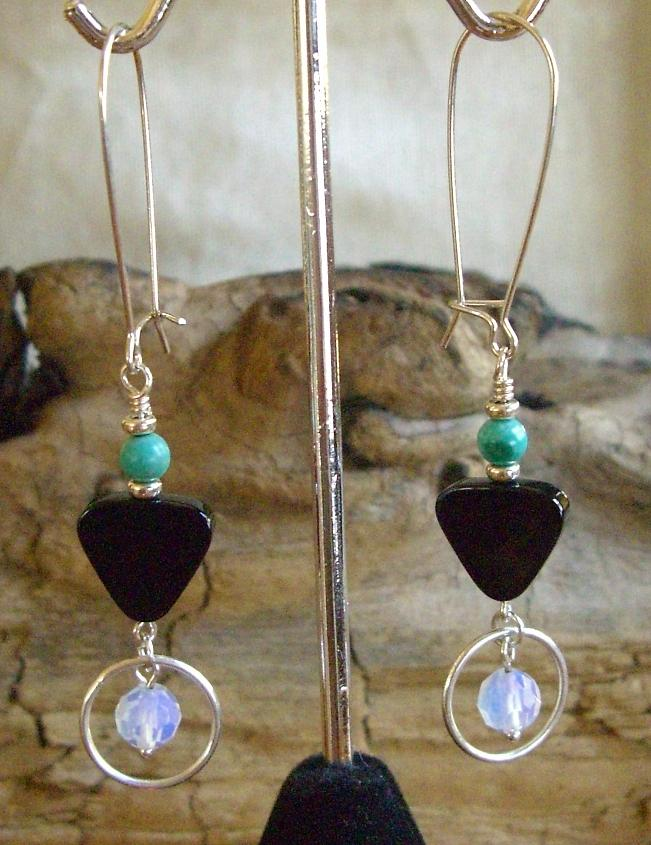 Sterling Jewelry - Sterling Turquoise Onyx And Opalite Earrings  by Ann Mooney