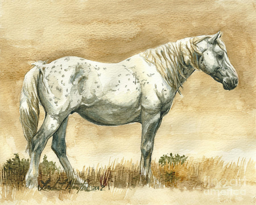 Wild Stallion Painting - Sterling Wild Stallion Of Sand Wash Basin by Linda L Martin