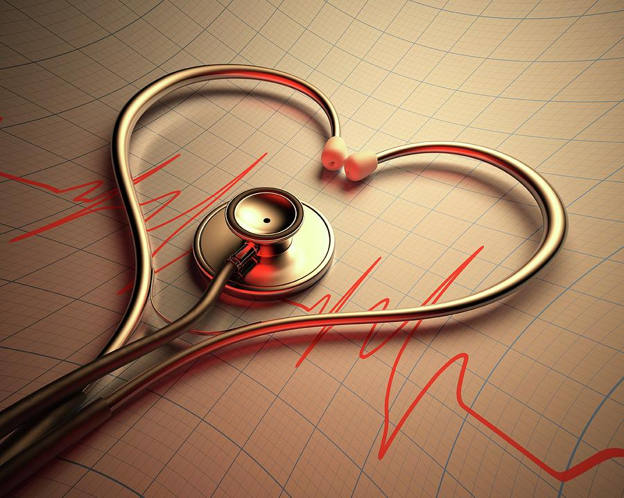 Close Up Photograph - Stethoscope In Heart Shape by Ktsdesign