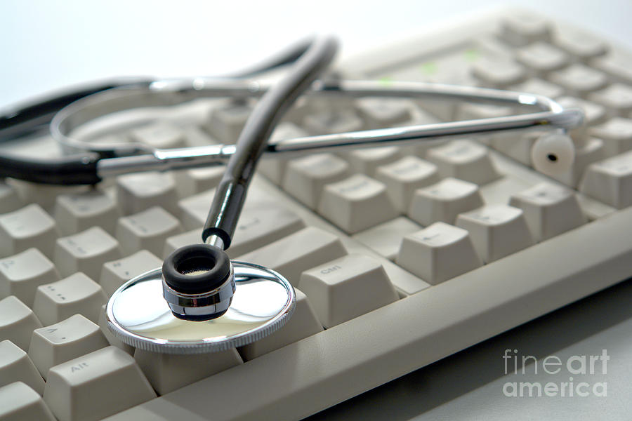 Stethoscope Photograph - Stethoscope On Computer Keyboard by Olivier Le Queinec