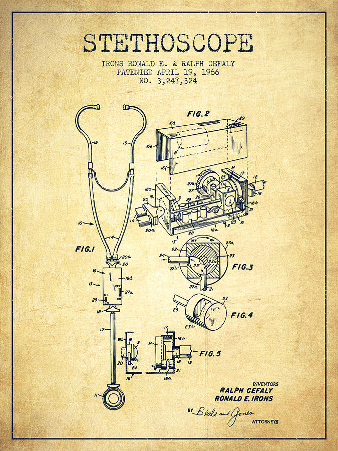 Stethoscope Patent Drawing From 1966 Vintage Digital Art