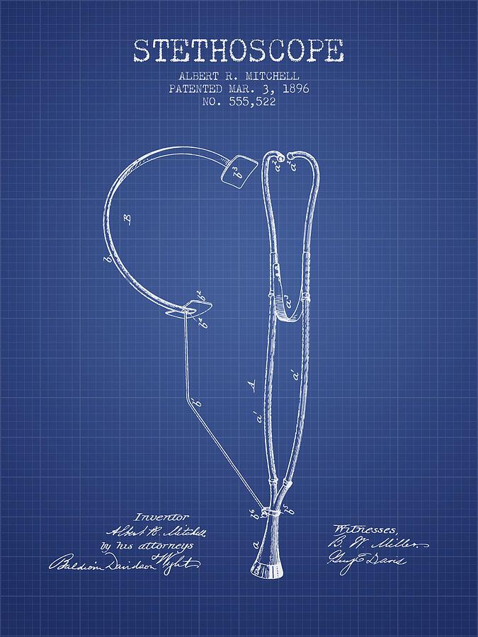 Stethoscope patent from 1896 blueprint digital art by aged pixel stethoscope digital art stethoscope patent from 1896 blueprint by aged pixel malvernweather Image collections