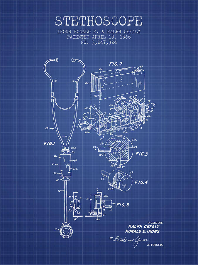 Stethoscope patent from 1966 blueprint digital art by aged pixel stethoscope digital art stethoscope patent from 1966 blueprint by aged pixel malvernweather Image collections
