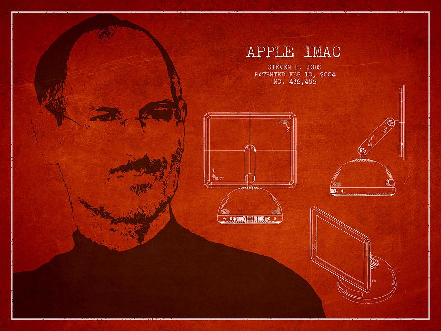 Steve Jobs Portrait Digital Art - Steve Jobs Imac  Patent - Red by Aged Pixel
