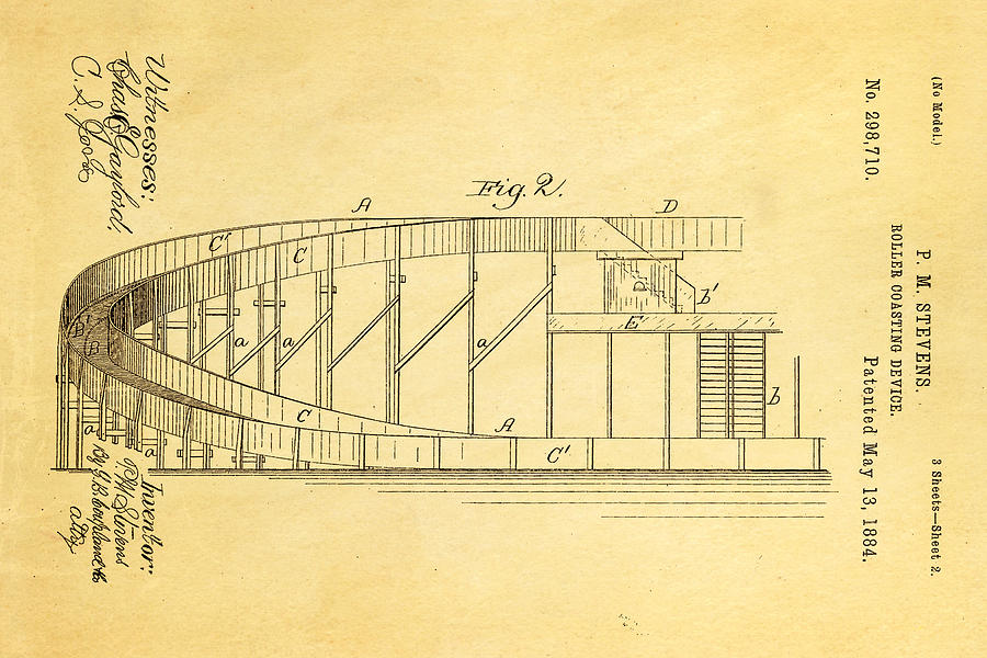 Engineer Photograph - Stevens Roller Coaster Patent Art  2 1884 by Ian Monk