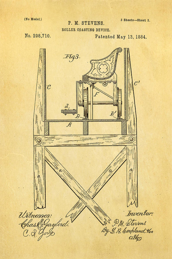 Engineer Photograph - Stevens Roller Coaster Patent Art  3 1884 by Ian Monk