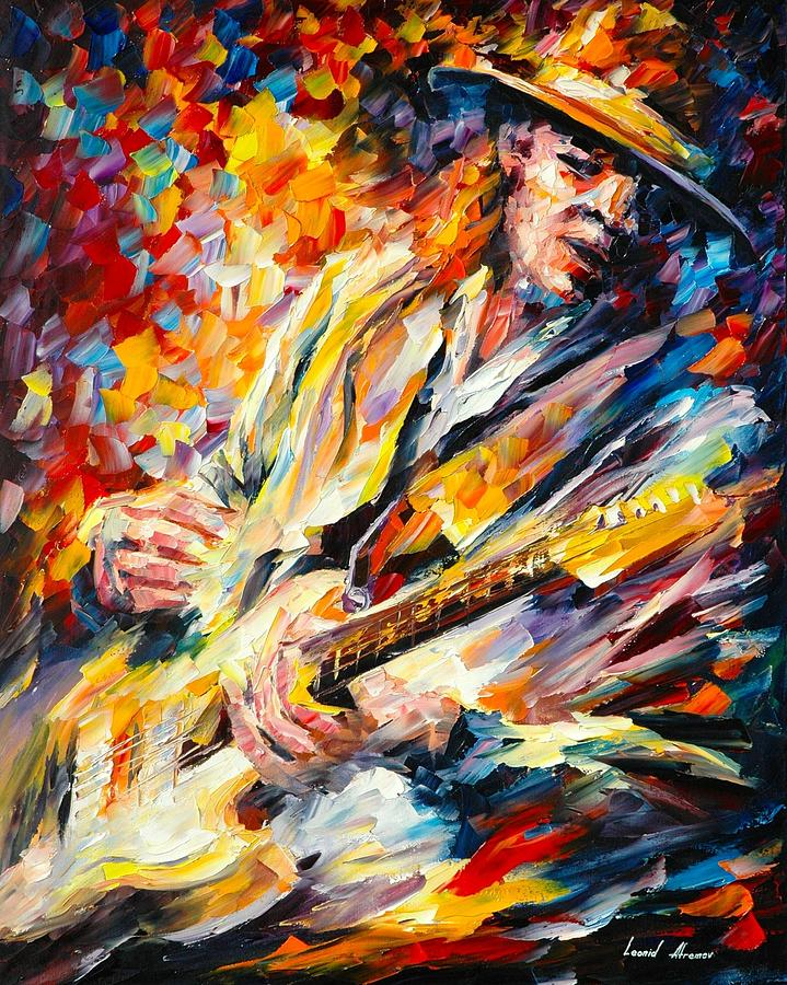 Stevie Ray Vaughan Fall Rain Afremov Painting Palette Knife Art Handmade Surreal Abstract Oil Landscape Original Realism Unique Special Life Color Beauty Admiring Light Reflection Piece Renown Authenticity Smooth Certificate Colorful Beauty Perspective Music Guitar Painting - Stevie Ray Vaughan by Leonid Afremov