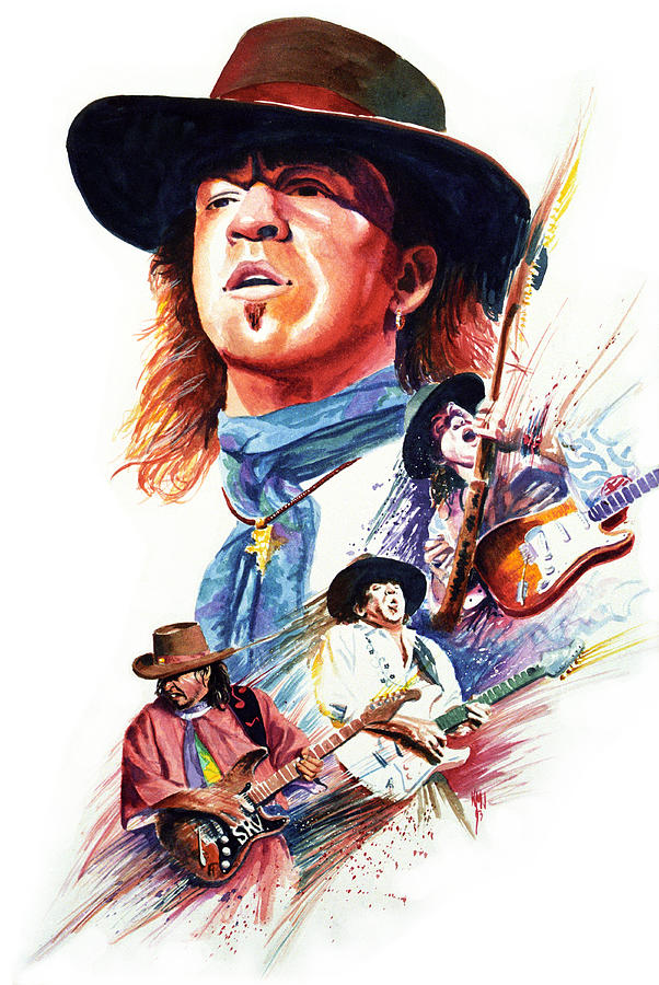 Guitarists Painting - Stevie Ray Vaughn by Ken Meyer jr