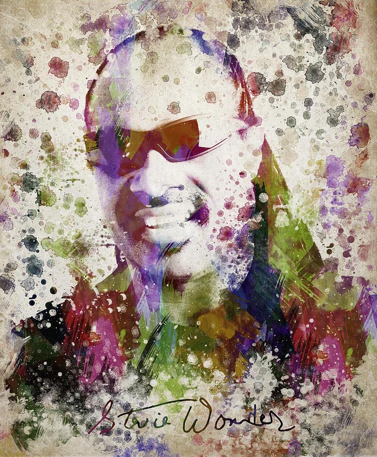 Stevie Wonder Digital Art - Stevie Wonder Portrait by Aged Pixel