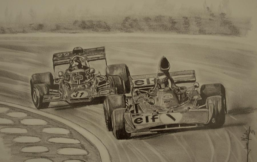 Emerson Fittipaldi Drawing - Stewart And Emerson by Juan Mendez