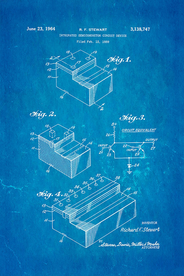 Stewart Integrated Circuit Patent Art 1964 Blueprint Photograph by ...