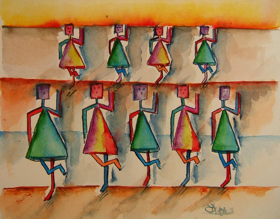Stickman Painting - Stickwomen Performers by Elaine Duras