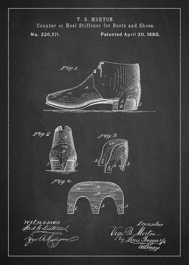 Shoe Drawing - Stiffner For Boots And Shoes Patent Drawing From 1880 by Aged Pixel