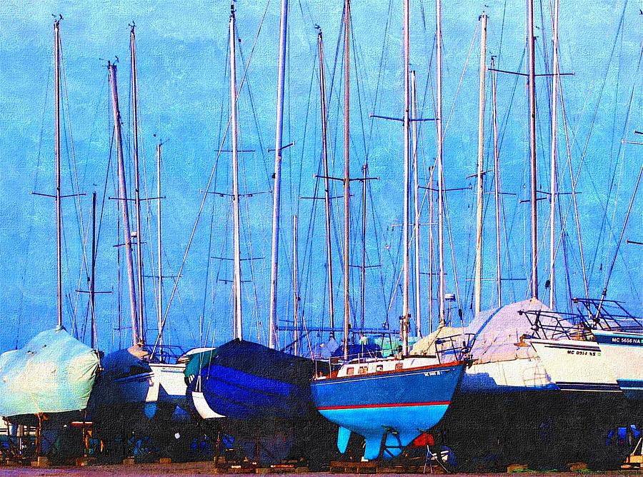 Still In Storage North Muskegon Marina  Painting by Rosemarie E Seppala
