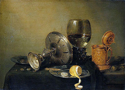 Painting Reproduction Painting - Still Life 1634 by Willem Claesz Heda