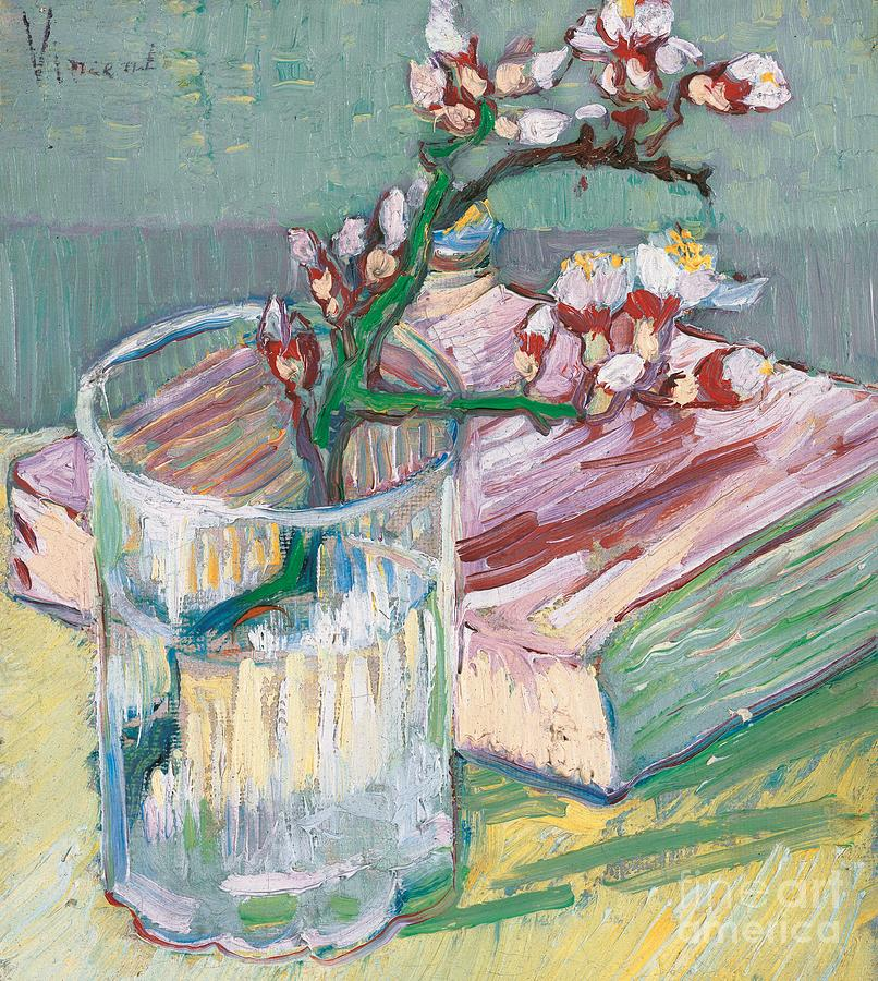 still life a flowering almond branch painting by vincent van gogh