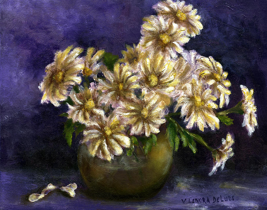 Daisies Painting - Still Life Art Diaisies In Purple  by Lenora  De Lude