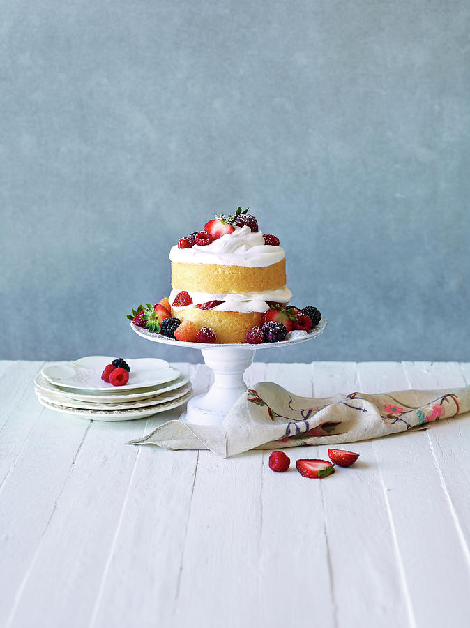 Still Life Berry Cream Layer Cake Photograph by Annabelle Breakey