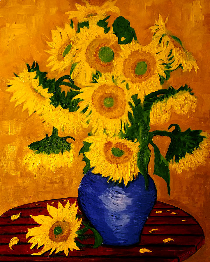 Still Life - Blue Vase With 13 Sunflowers Drawing