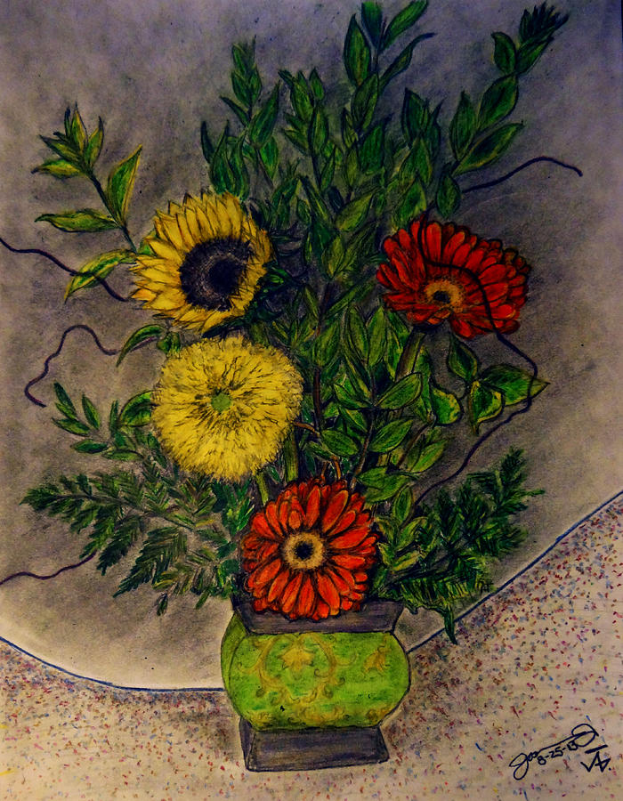 Still Life Ceramic Vase With Two Gerbera Daisy And Two