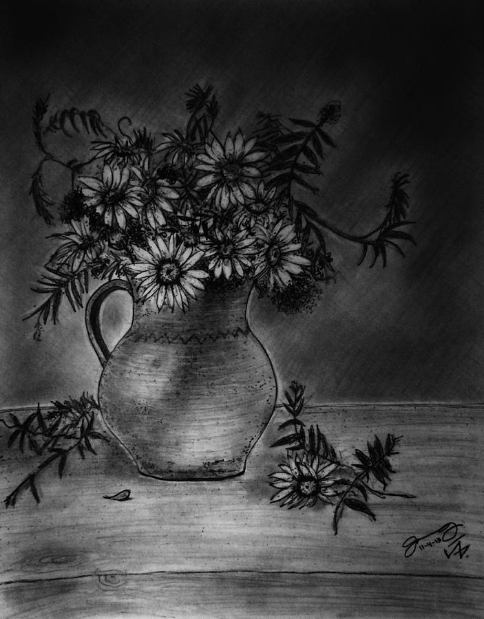Still Life Clay Pitcher With 13 Daisies Drawing