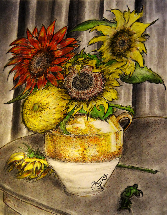 Still Life Clay Vase With 5 Sunflowers Drawing