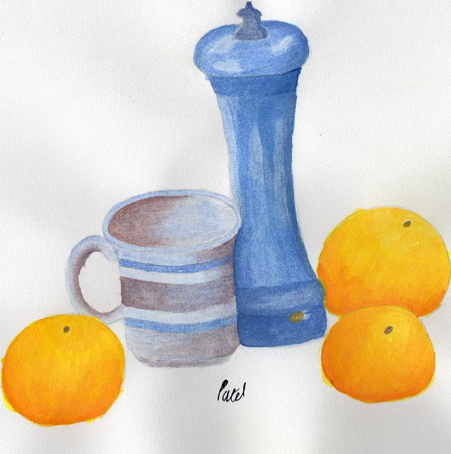 Still Life Painting - Still Life - Cup With Pepperpot And Oranges by Bav Patel