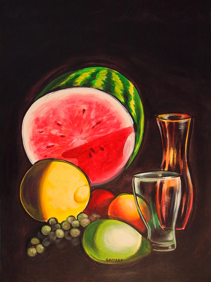 Still Oil Glasses Bright Vibrant Watermelon Lemon Pear Colorful Painting - Still Life by Dayna Reed