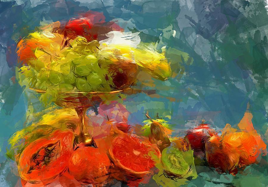 Still Life Digital Art - Still Life Fruits In Vase by Yury Malkov