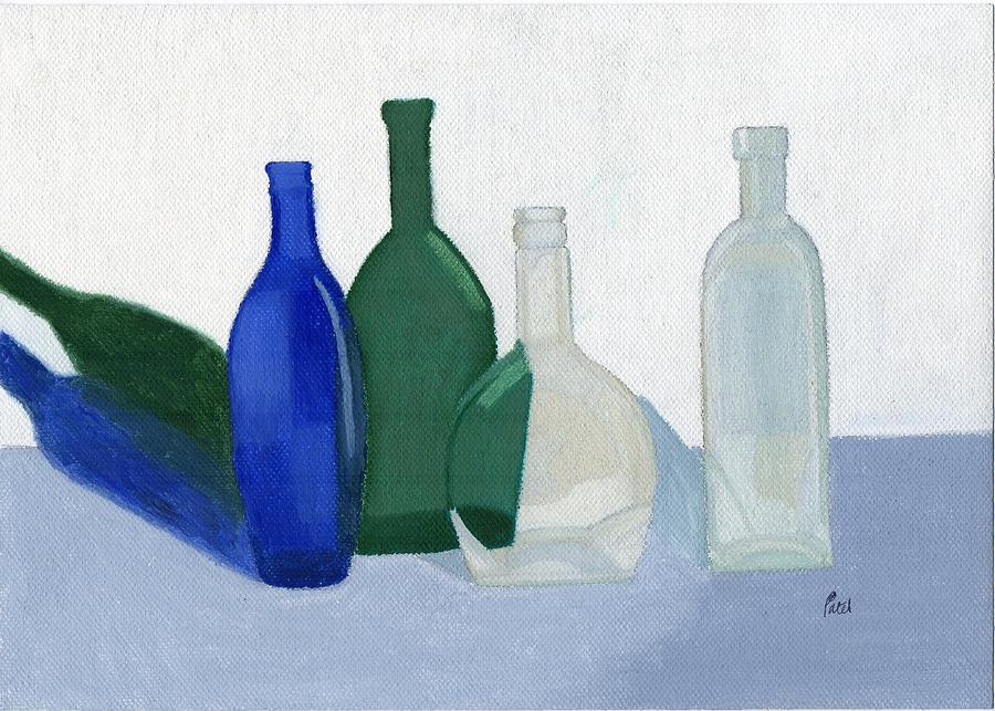 Still Life Painting - Still Life - Glass Bottles by Bav Patel