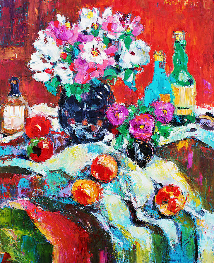 Still Life Painting - Still Life In Studio With Blue Bottle by Becky Kim