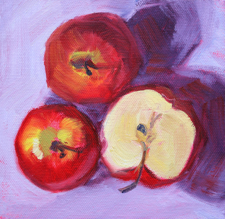 Apple Painting - Still Life Kitchen Apple Painting by Nancy Merkle