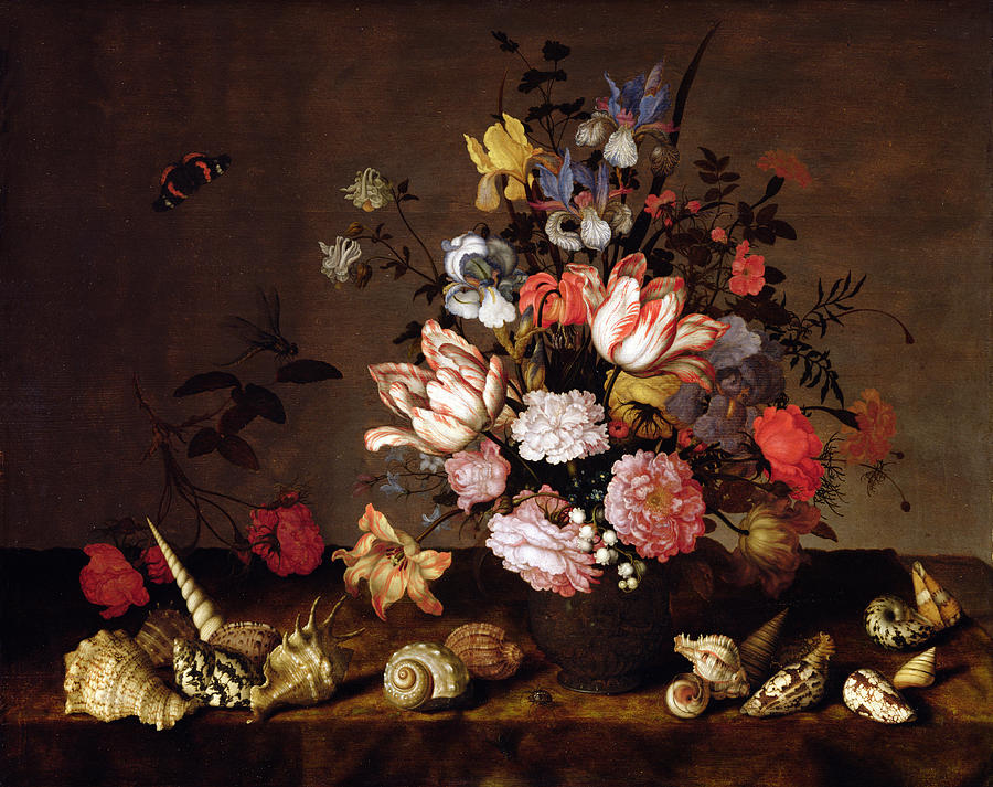 Sea Painting - Still Life Of A Vase Of Flowers by Balthasar van der Ast
