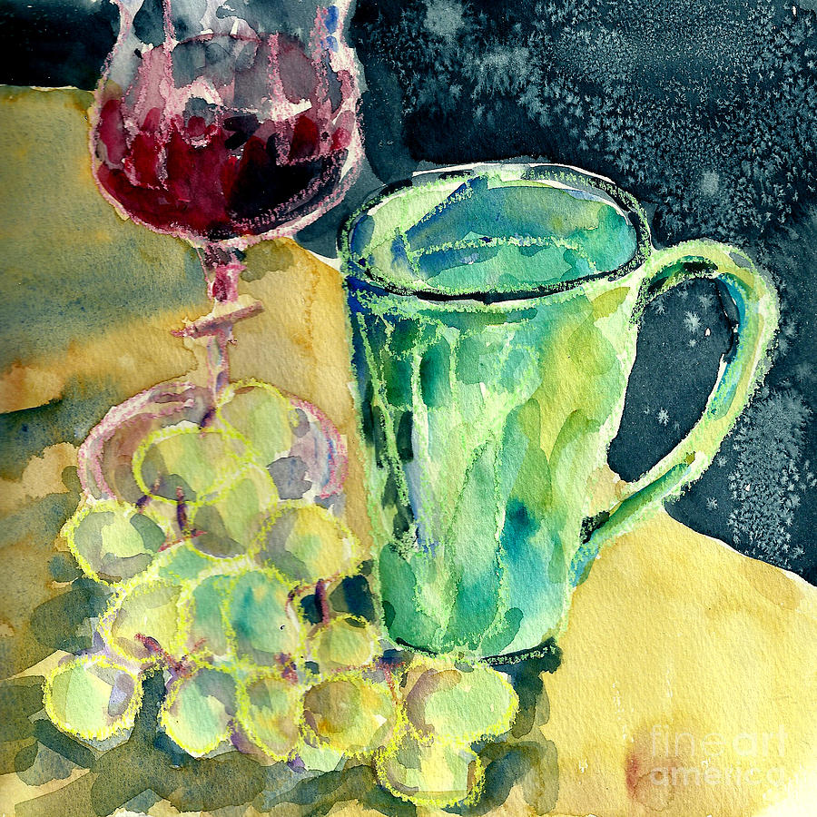 Still Life Painting - Still Life Of Grapes by Toshiko Tanimoto