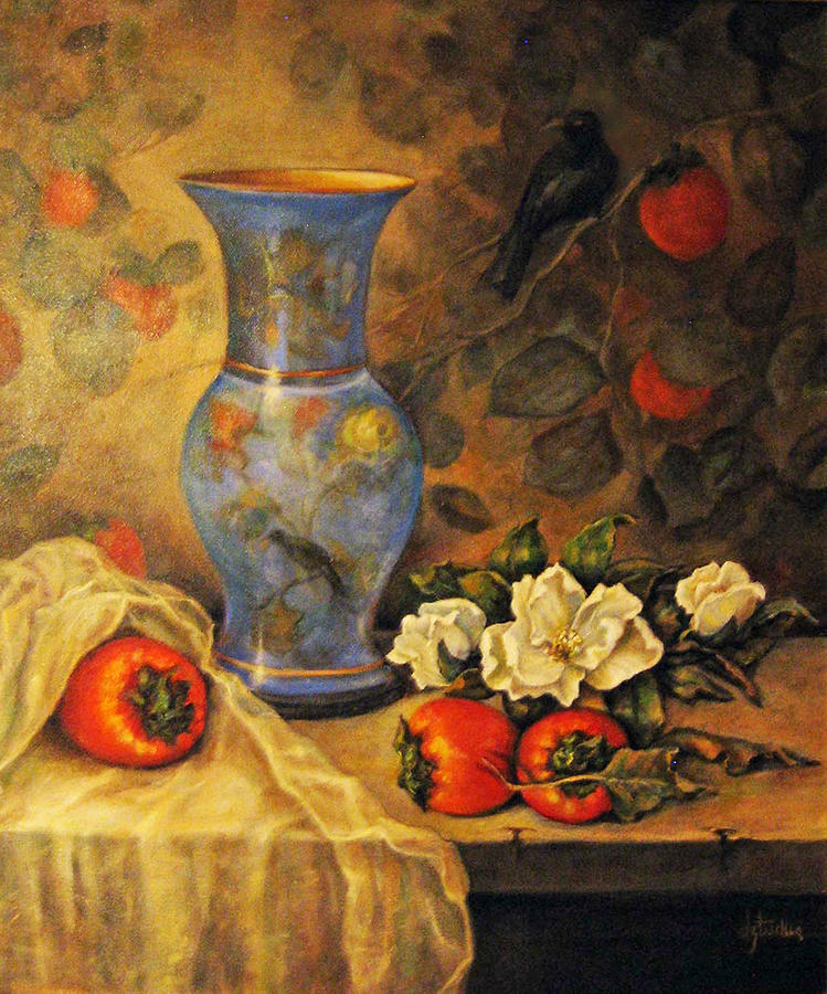 Still Life of Persimmons  by Donna Tucker