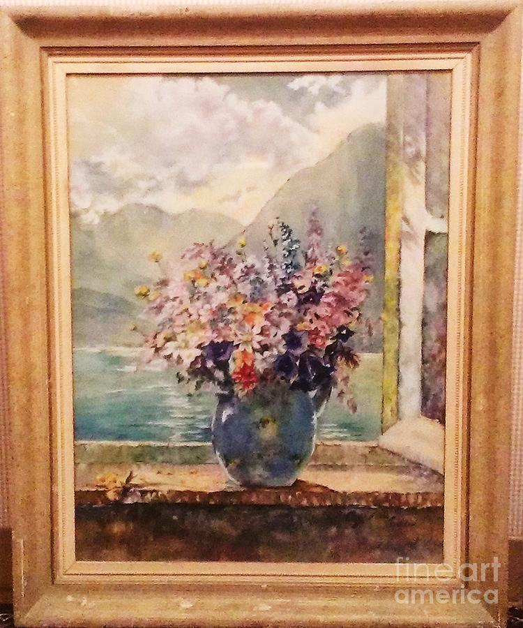 Still Life In Front Of A Lake With Mountains In The
