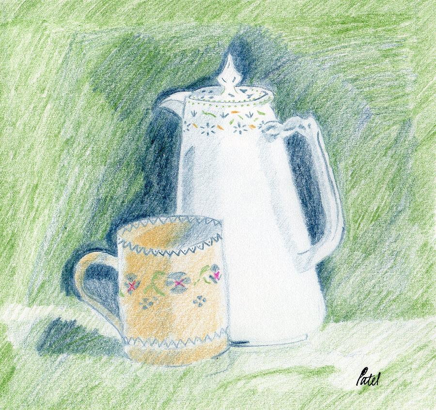 Coloured Pencil Drawing - Still Life - Patterned China by Bav Patel