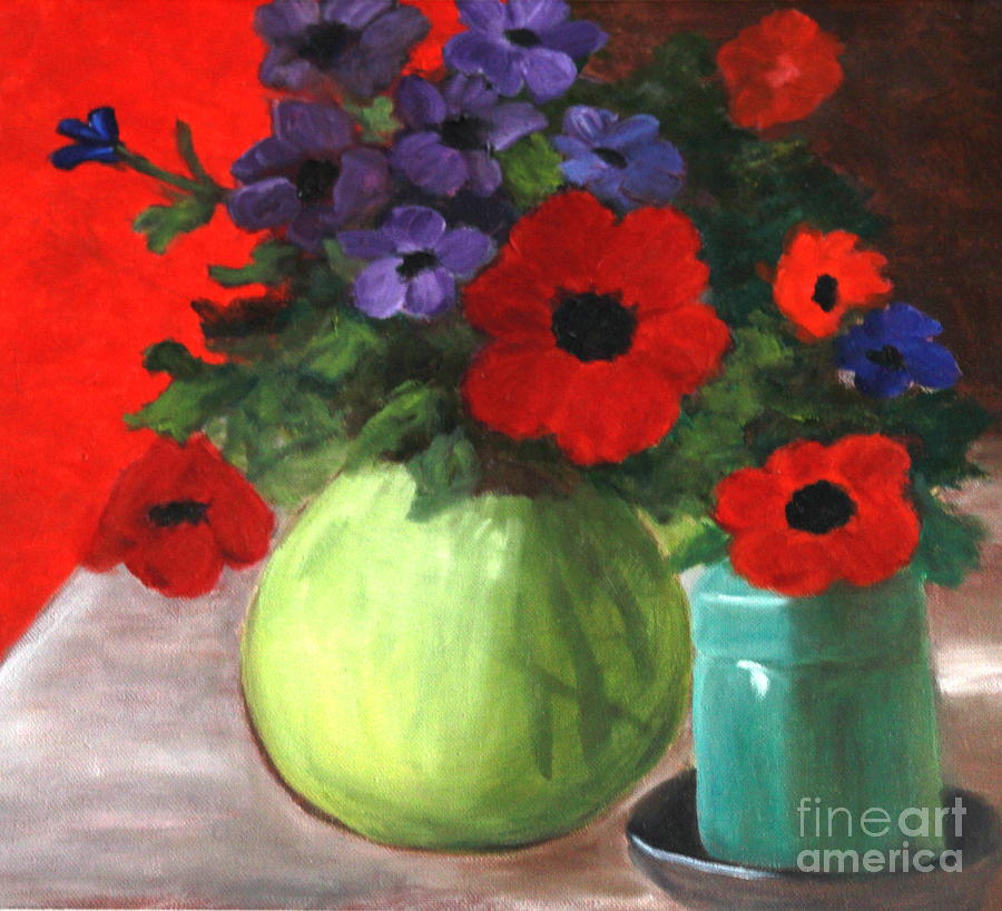 Still Life Paintings Painting - Still Life Poppies And Purple Things by Sherrill McCall